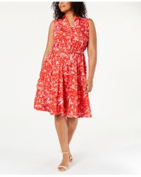 Charter Club Plus Size Scenic Belted Dress, Created For Macy's - Red