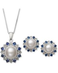 Macy's - 2-pc. Set Cultured Freshwater Pearl (7,mm, 9mm) And Cubic Zironcia Pendant Necklace And Stud Earrings Set In Sterling Silver - Lyst