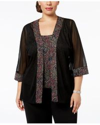 Alex Evenings - Plus-size Printed Sparkle-embellished Jacket & Shell - Lyst
