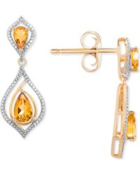 Macy's - Citrine (1-1/10 Ct. T.w.) & Diamond (1/5 Ct. T.w.) Drop Earrings In 14k Gold - Lyst