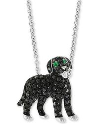 """Effy Collection - Effy® Diamond (3/4 Ct. T.w.) & Emerald Accent Dog 18"""" Pendant Necklace In 14k White Gold - Lyst"""