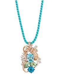 Le Vian - Blue Topaz, Green Quartz And White Topaz Cluster Pendant Necklace In 14k Rose Gold (10-1/5 Ct. T.w.) - Lyst