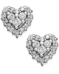 Effy Collection | Diamond Heart Stud Earrings In 14k White Gold (1/2 Ct. T.w.) | Lyst