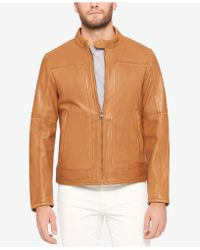 Marc New York - Men's Snap-collar Perforated Leather Moto Jacket - Lyst