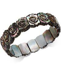 Macy's - Black Mother-of-pearl Rose Carved Stretch Bracelet - Lyst