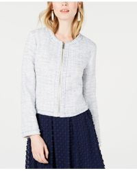 Maison Jules - Collarless Tweed Zip-up Jacket, Created For Macy's - Lyst