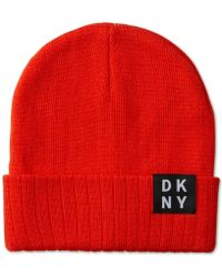 50d1552bc35 Lyst - Dkny Foldover Logo Hat in Red for Men