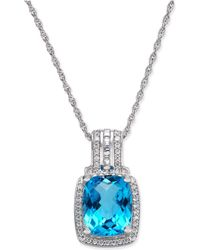 Macy's - Blue Topaz (2-1/3 Ct. T.w.) & Diamond (1/5 Ct. T.w.) Pendant Necklace In 14k White Gold - Lyst