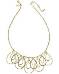 """INC International Concepts - I.n.c. Gold-tone Pavé Tear-shape Shaky Statement Necklace, 21"""" + 3"""" Extender, Created For Macy's - Lyst"""