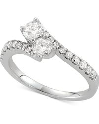 Macy's - Diamond Two-stone Twist Ring (7/8 Ct. T.w.) In 14k White Gold - Lyst
