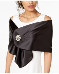 Adrianna Papell - Satin Cape With Brooch - Lyst