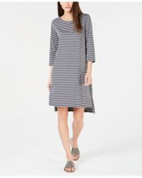Eileen Fisher - Organic Cotton Striped High-low Dress, Created For Macy's - Lyst