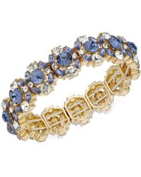 Charter Club - Gold-tone Crystal & Blue Stone Stretch Bracelet - Lyst