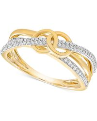 Wrapped in Love - Diamond Double Circle Ring (1/6 Ct. T.w.) In 10k Gold - Lyst