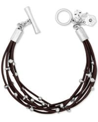 Lucky Brand - Silver-tone Leather Bracelet - Lyst