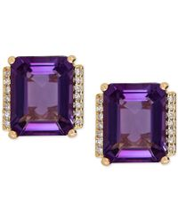 Macy's - Amethyst (4-1/5 Ct. T.w.) And Diamond Accent Stud Earrings In 14k Gold (also Available In London Blue Topaz) - Lyst