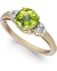 Macy's - Peridot (1-1/2 Ct. T.w.) & Diamond Accent Ring In 14k Gold - Lyst