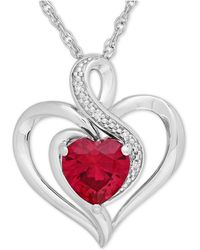 Macy's - Ruby (1-1/6 Ct. T.w.) And Diamond Accent Heart Pendant Necklace In Sterling Silver - Lyst