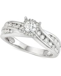 Macy's - Diamond Channel-set Swirl Engagement Ring (1 Ct. T.w.) In 14k White Gold - Lyst