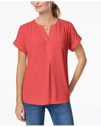 Charter Club - Petite Split-neck Top, Created For Macy's - Lyst