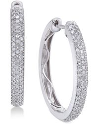Macy's - Diamond Hoop Earrings (1 Ct. T.w.) In 14k White Gold - Lyst