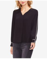 Vince Camuto - Contrast Piping Blouse - Lyst