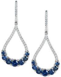Macy's - Sapphire (2-3/4 Ct. T.w.) And Diamond (1/2 Ct. T.w.) Fancy Drop Earrings In 14k White Gold - Lyst