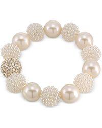 Carolee - Gold-tone Imitation Pearl And Fireball Stretch Bracelet - Lyst