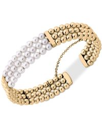 Majorica - Gold-tone Bead & Imitation Pearl Bangle Bracelet - Lyst
