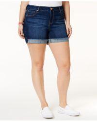 Celebrity Pink - Trendy Plus Size Denim Frayed Shorts - Lyst
