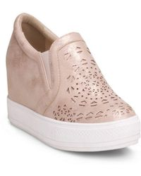Wanted - Hidden Wedge Sneaker With Laser Cut Upper - Lyst