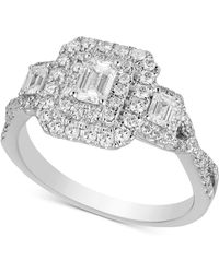 Macy's - Diamond Halo Engagement Ring (1 Ct. T.w.) In 14k White Gold - Lyst