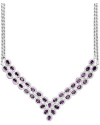 Macy's - Sterling Silver Necklace, Amethyst Two Row Bib Necklace (14 Ct. T.w.) - Lyst
