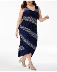 INC International Concepts - I.n.c. Plus Size Mixed-print Ruched Dress, Created For Macy's - Lyst
