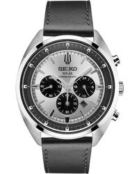 Seiko - Men's Solar Chronograph Recraft Series Black Leather Strap Watch 43mm Ssc569 - Lyst