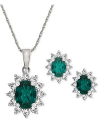 Macy's - Lab Created Emerald (1-1/5 Ct. T.w.) & White Sapphire (1 Ct. T.w.) Pendant Necklace & Stud Earrings In Sterling Silver - Lyst