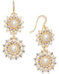 Charter Club - Gold-tone Imitation Pearl & Crystal Double Drop Earrings, - Lyst