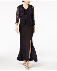 R & M Richards - Sequined Lace Empire-waist Gown & Jacket - Lyst