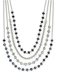 INC International Concepts - Silver-tone Multi-row Jet Stone And Crystal Statement Necklace - Lyst