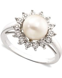 Macy's - 10k White Gold Ring, Cultured Freshwater Pearl & Diamond Accent - Lyst
