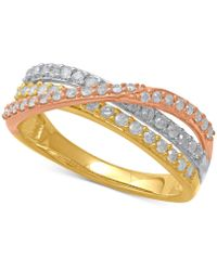 Macy's - Diamond Tri-color Crisscross Statement Ring (1/2 Ct. T.w.) In 14k Gold, Rose Gold & White Rhodium-plate - Lyst