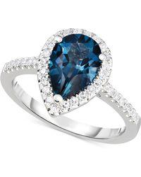 Macy's - London Blue Topaz (2-1/4 Ct. T.w.) & Diamond (1/3 Ct. T.w.) Ring In 14k White Gold - Lyst