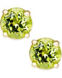 Macy's - Peridot Stud Earrings In 14k Gold (1 Ct. T.w.) - Lyst