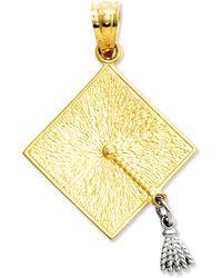 Macy's - 14k Gold And 14k White Gold Charm, Graduation Cap Charm - Lyst