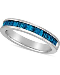 Macy's - Sterling Silver Ring, Blue Diamond Baguette Ring (1 Ct. T.w.) - Lyst