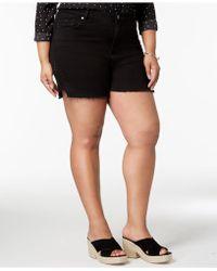 Seven7 - Trendy Plus Size Studded Denim Shorts - Lyst