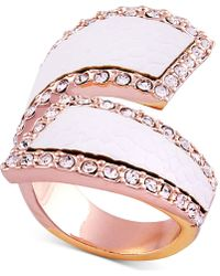Guess - Rose Gold-tone Pavé & Faux Python Leather Bypass Ring - Lyst