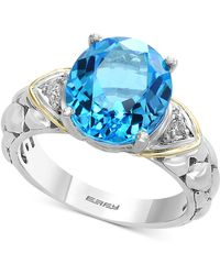 Effy Collection - Balissima By Effy® Blue Topaz (5-1/2 Ct. T.w.) & Diamond Accent Ring In Sterling Silver & 18k Gold - Lyst