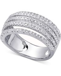 Macy's - Diamond Multi-band Statement Ring (1/2 Ct. T.w.) In Sterling Silver Or 18k Gold-plated Sterling Silver - Lyst