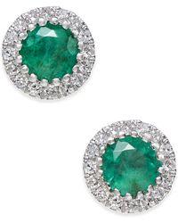 Macy's - Emerald (5/8 Ct. T.w.) And Diamond (1/10 Ct. T.w.) Stud Earrings In 14k White Gold - Lyst